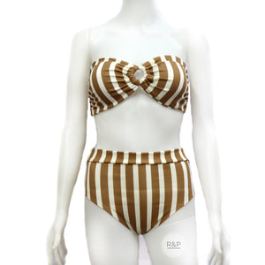 Quinn - Ivana Two Piece Swimsuit (SA) - Stripes - Robi & Peach