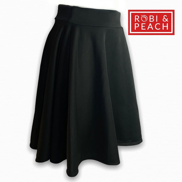 Plain Skater Skirt | Round Neoprene Mini Skirt - Robi & Peach