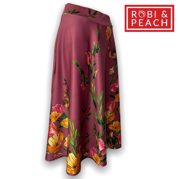 Robi & Peach Printed Midi Skirt | Round  Neoprene Skirt - Robi & Peach