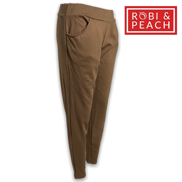 Ellie French Terry Pull-On Pants | Solid Color Leggings - Robi & Peach