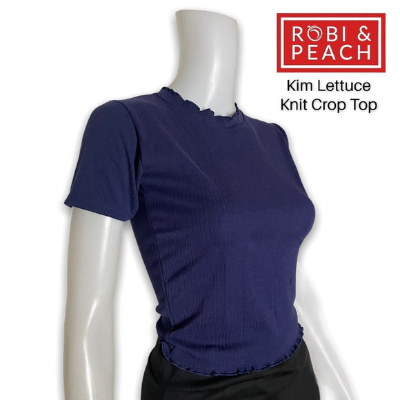 Kim Lettuce Plain Basic Knitted Round Neck Crop Top