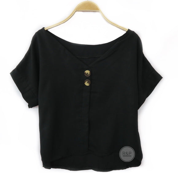 Ashna Plain w/ Button VNeck Top (A/R)