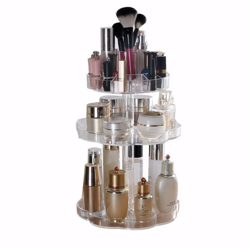 2017 New Transparent Rotating Makeup Organizer Case 3 Tiers Acrylic Cosmetic Jewelry Storage Holder Bracket For Bedroom Bathroom