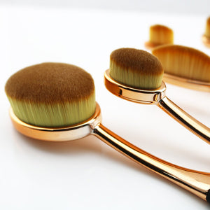 New 5 Piece Soft Make Up Toothbrush Shape Rose Gold Oval Makeup Brushes Set Cosmetic Tools Kit For Face Eye Lip Beauty