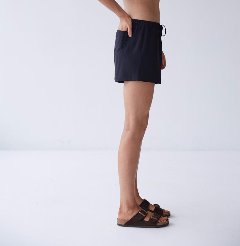 Womens Silk Boxer Shorts Black