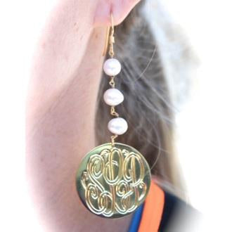 Dangle Monogrammed Earrings with Pearls