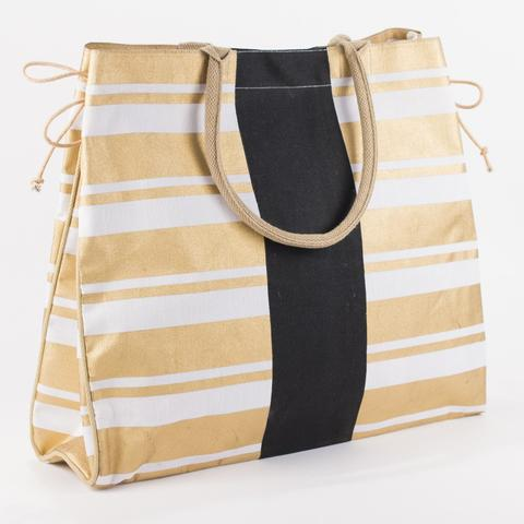 Gold and Black Jute Tote