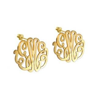 Script Earrings on Post