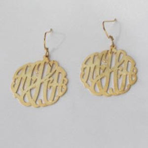 Interlocking Script Earrings on French Wires