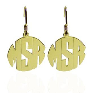 Monogrammed Block Earrings on French Wire