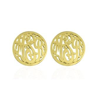Monogrammed Script with Border Earrings on Post