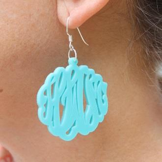 Monogrammed Acrylic Script Earrings