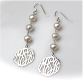 Monogrammed Script Shepherd Earrings With Drop Pearls