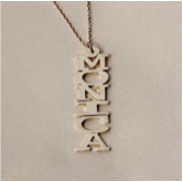 Vertical Block Nameplate Necklace