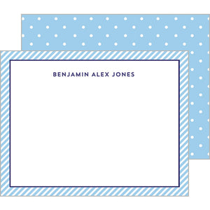 Preppy Stripes + Swiss Dot Flat Notecard