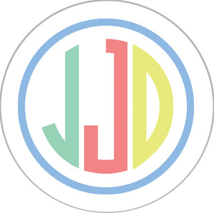 Colorful Stripe Monogram Sticker