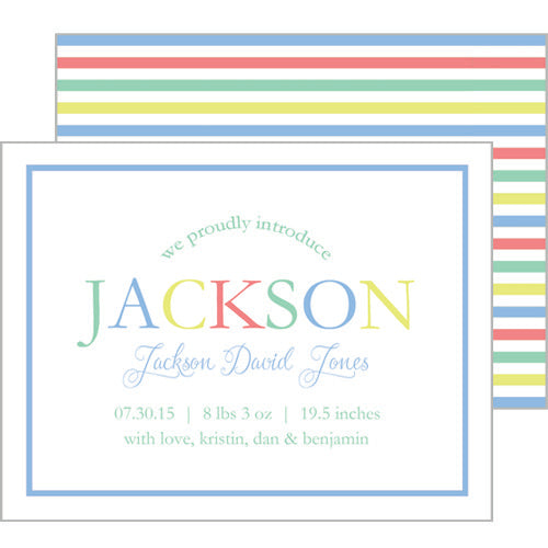 Colorful Stripe Birth Announcement
