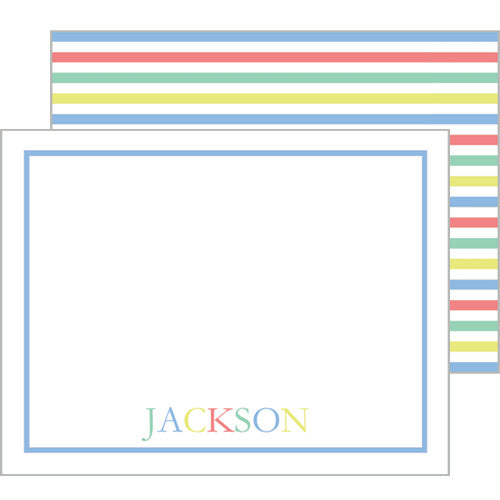 Colorful Stripe Flat Notecard