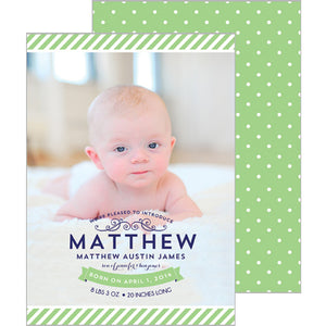 Preppy Stripes + Swiss Dot Birth Announcement - Photo