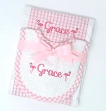 Pink Check Newborn Burp and Bib Set