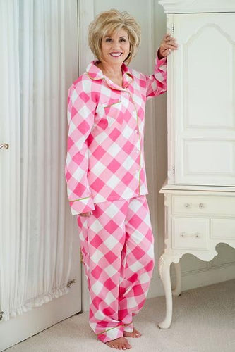 Pink Buffalo Check with green trim pj set