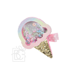 Ice Cream Glitter Shaker Bow