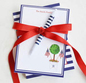 Patriotic Topiary Tree Personalized Notepad