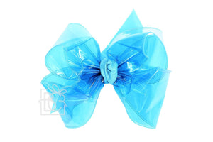 5.5″ Turquoise waterproof bow made with 2.5″ Ribbon on Alligator Clip