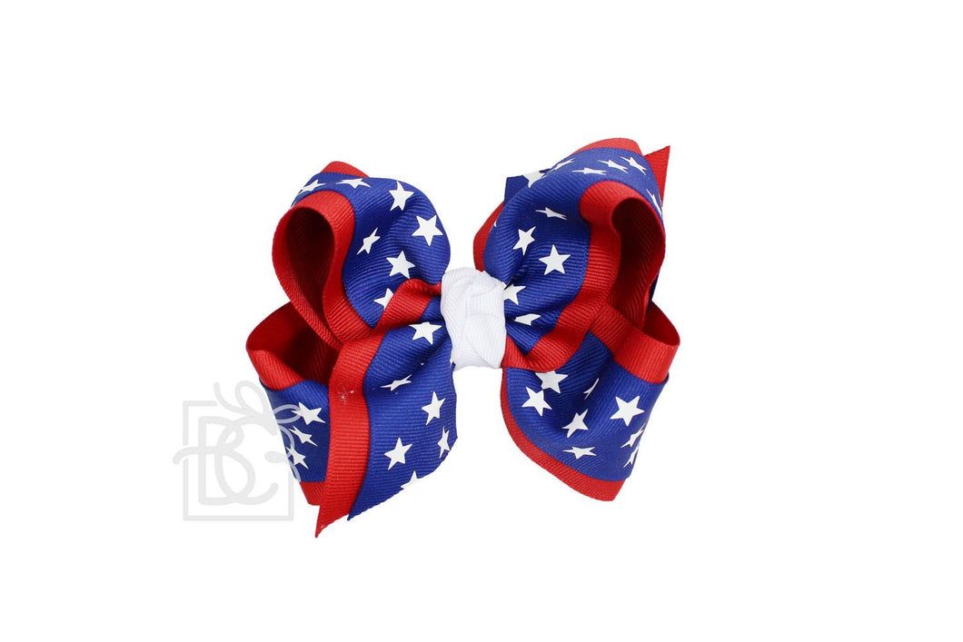"4.5"" LAYERED STAR PRINTED GROSGRAIN BOW"