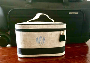 Linen train case cosmetic bag