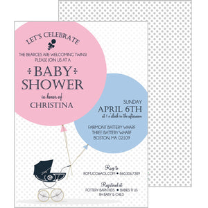 Monogram Pram Invitation