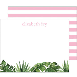 Palm Leaves + Cabana Stripes Flat Notecard