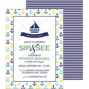 Preppy Anchors Invitation