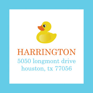Rubber Ducky Return Address Label