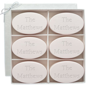 Set of 6 Personalized Oval Scented Soap Bars