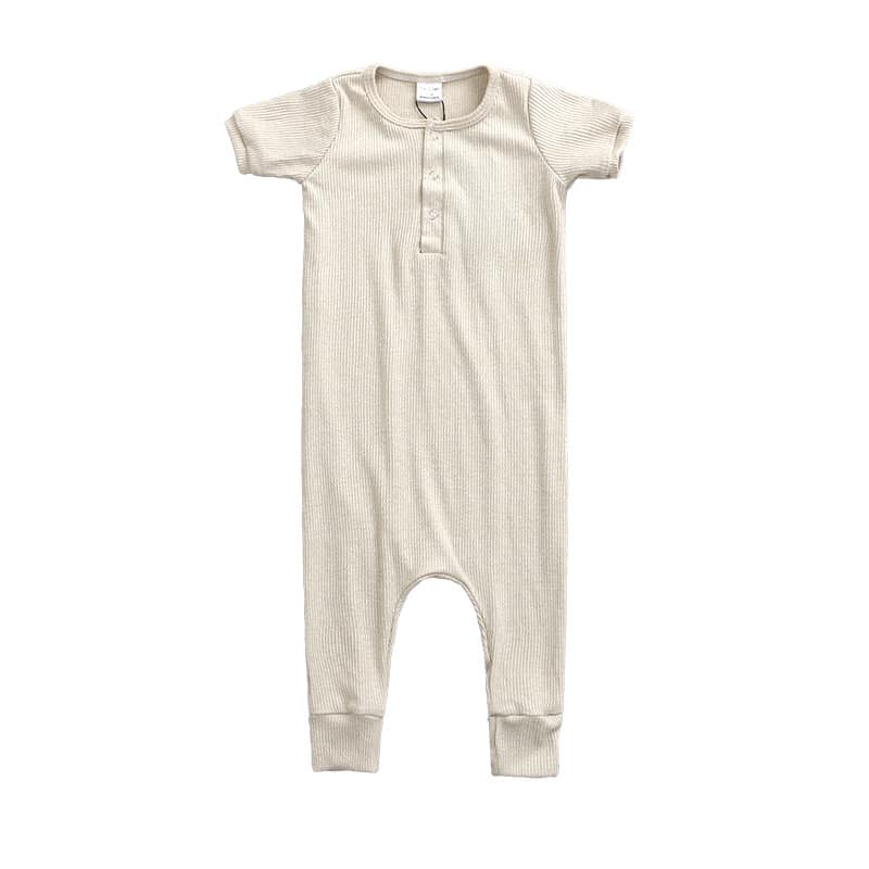 Heather Oatmeal Ribbed Knit Henley Romper