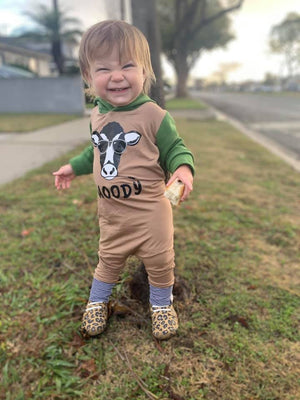 Long Sleeve Moody Cow Romper with Hood and stripes-Pine and Teakwood