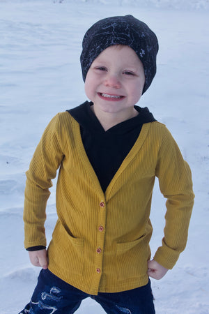 Ribbed Knit Mustard Children's Cardigan