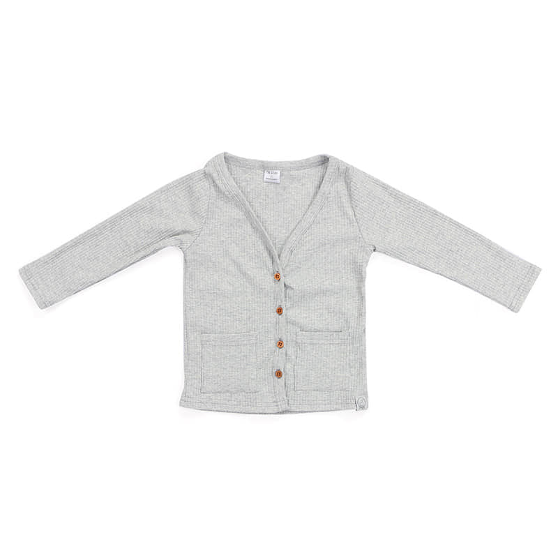 Ribbed Knit Heather Grey Children's Cardigan