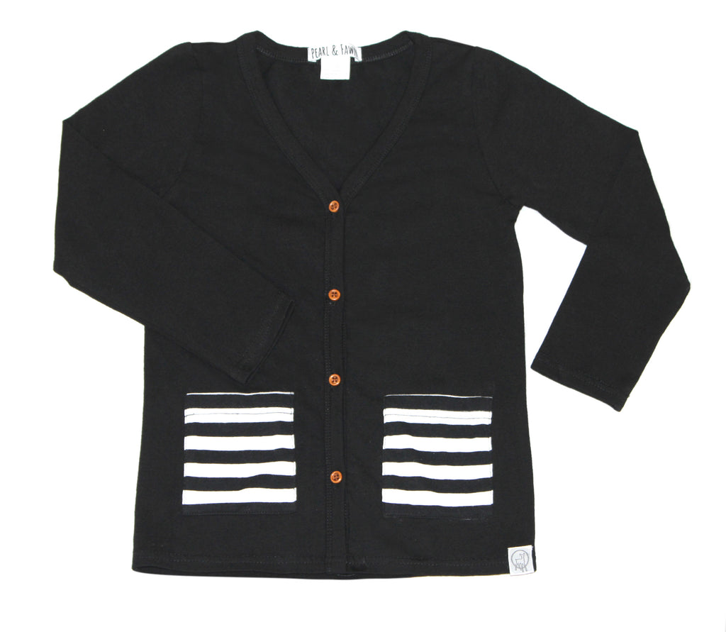 Black/striped pocket-Premium Cotton Children's Cardigan