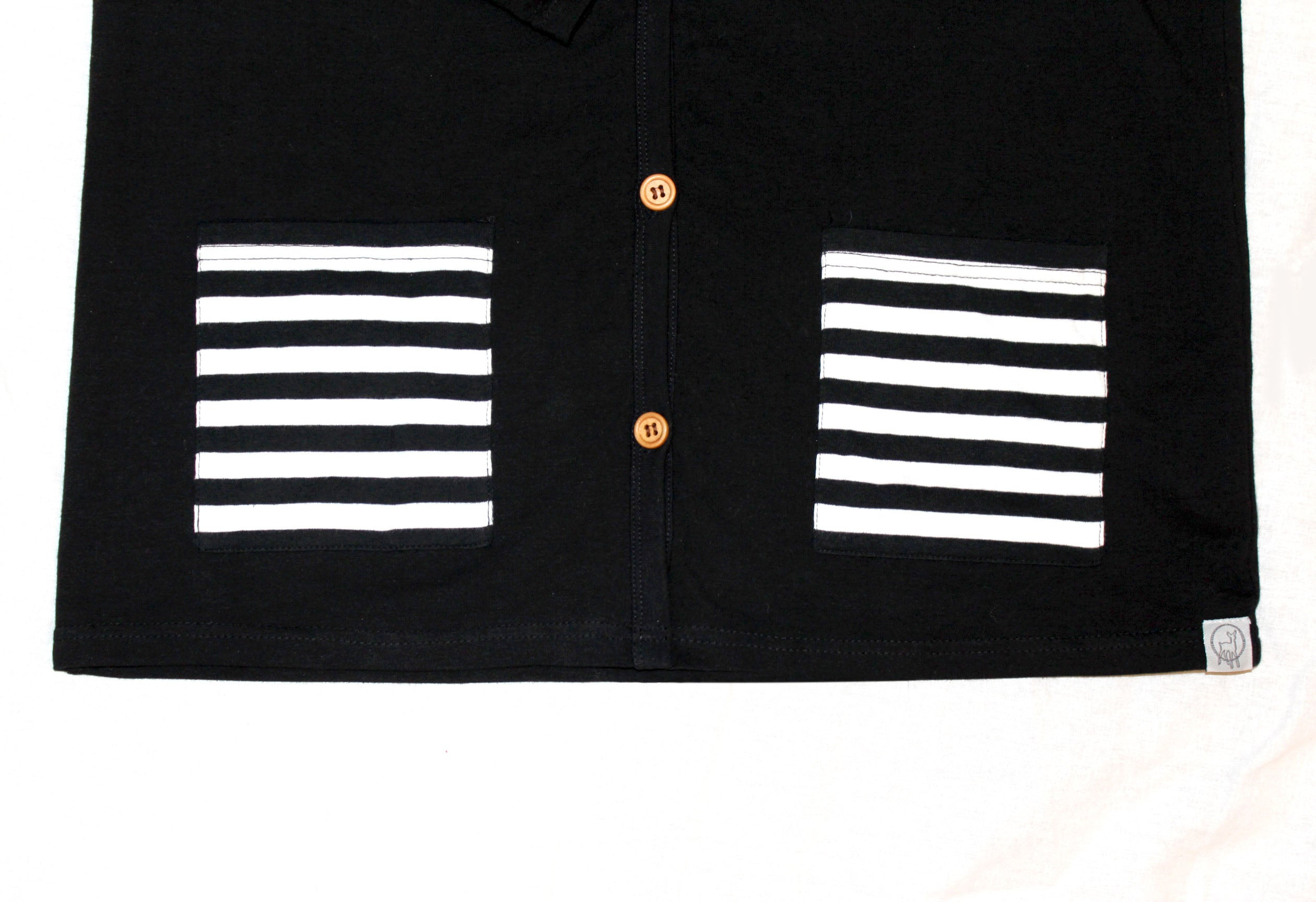 Black/Striped Pocket-Premium Cotton Women's Cardigan
