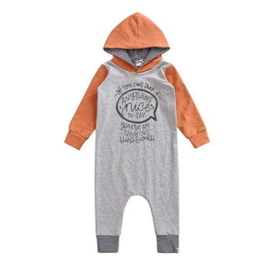 "Long Sleeve ""Nice to Say"" Romper with Hood and stripes-Papaya and Heather Grey"