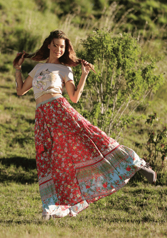 JAMAWAR ROSE MAXI SKIRT - SCARLET RED PRE-ORDER