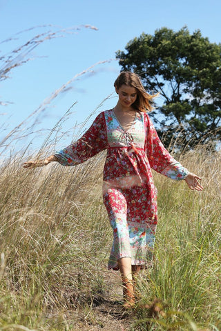 PRE ORDER - HAVILLAH MAXI DRESS ROCOCCO RED
