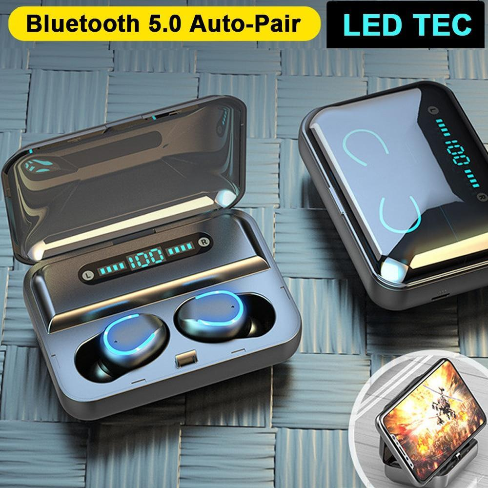 Bluetooth Earphones w/ Mini LED Display + Stereo + Power Bank Wireless Earphones & Cases Millennials Merchandise