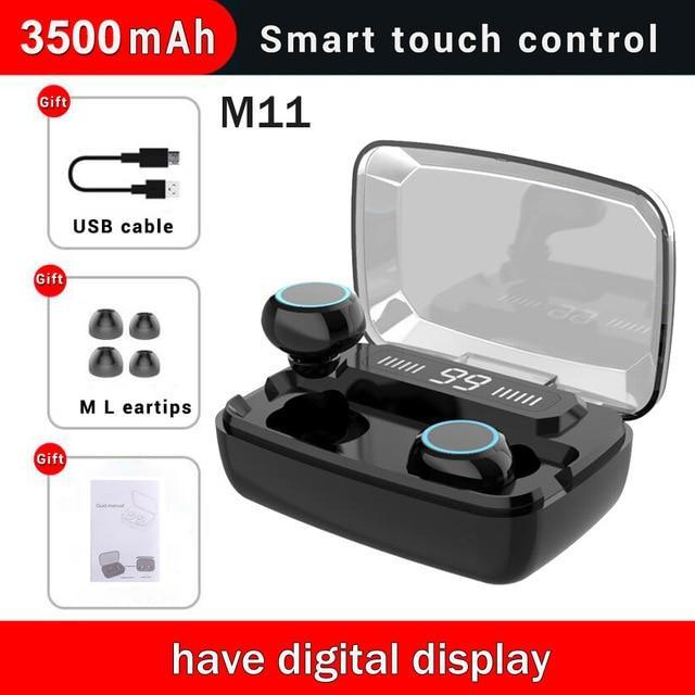 LED Bluetooth Earphones w/ Stereo Wireless Earphones & Cases Millennials Merchandise M11 Dual ear LED B