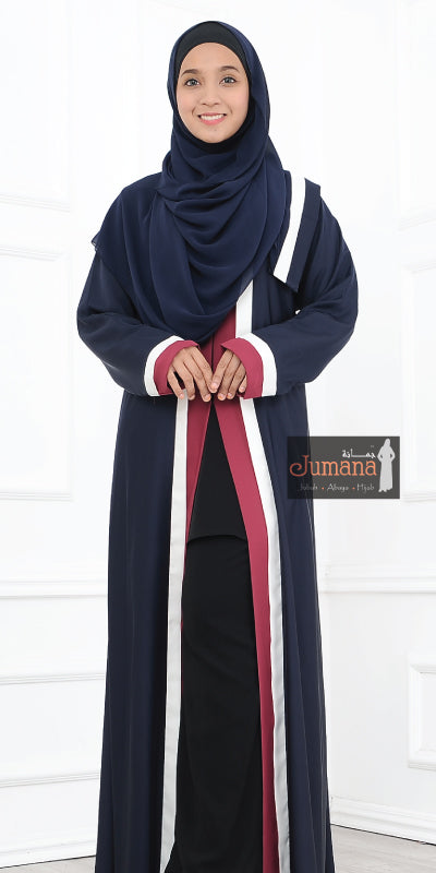 Abaya 3 Colour - Dark Blue Maroon