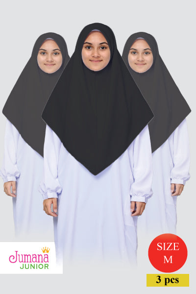 Tudung Sek Men - Batrisyia (BLACK) - SIZE M - set of 3 pieces