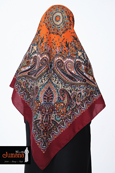 Square Hijab ZMB 01 - Maroon Orange