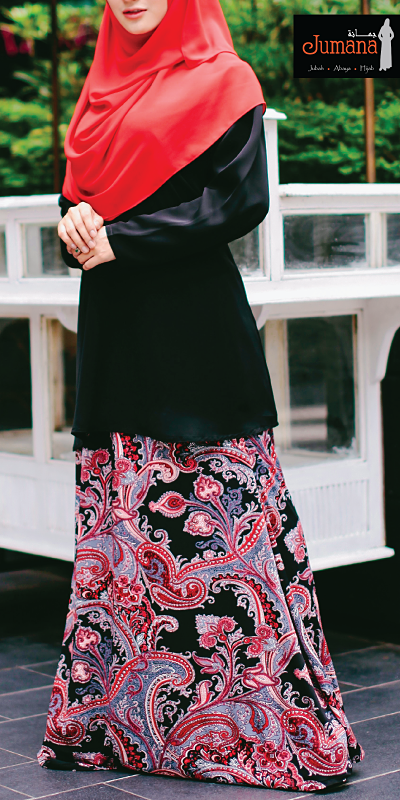 Skirt - Paisley Black Red